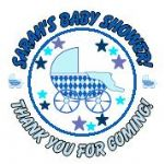 Personalised Blue Pram Baby Shower Party Stickers